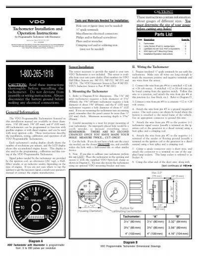 Programmable Tach With Hourmeter Vdo, Vdo Rev Counter Wiring Diagram