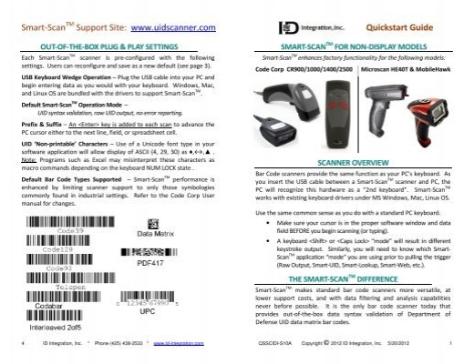 Smart-Scan TM CR1200/CR1210 - ID-Integration
