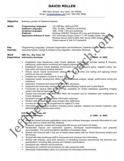 Datastage sample resume