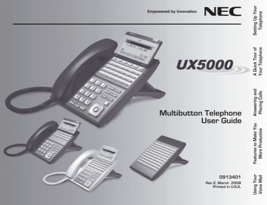 0913401 rev2 01 low copy qxd nec ux5000 rh yumpu com Bottom NEC UX5000 24 Button Telephone NEC Handset Bluetooth