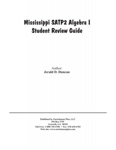 mississippi satp2 algebra i student review guide enrichment plus
