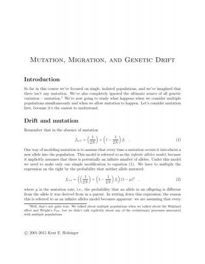mutation migration and genetic drift kent