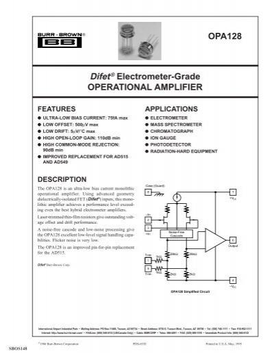 OPA128 electrometer grade operational amplifier gain 110dB