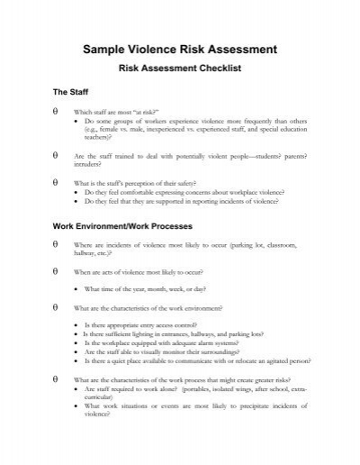 Risk Assessment Checklist Template   Sample Assessment Form