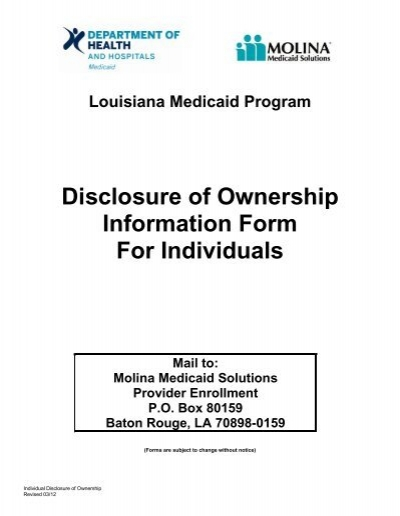 Disclosure of Ownership Information Form For Individuals