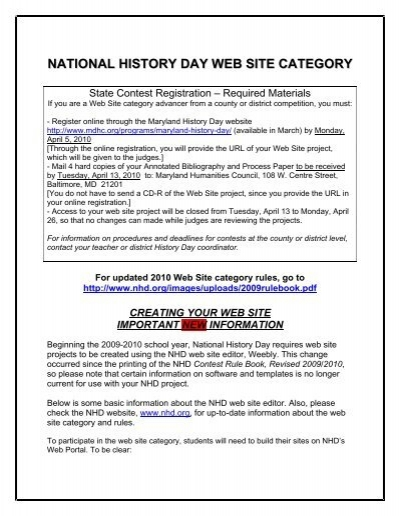 national history day web site category - Maryland Humanities