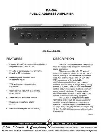 DA-60A - JW Davis & Company