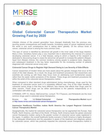 Global Colorectal Cancer Therapeutics Market Growing Fast By 2020