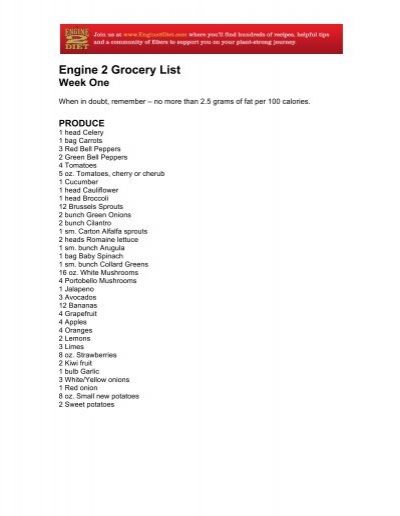 engine 2 grocery list the engine 2 diet