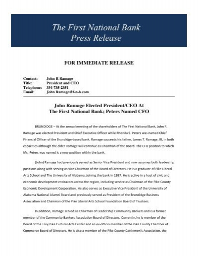 The First National Bank Press Release - Business Alabama