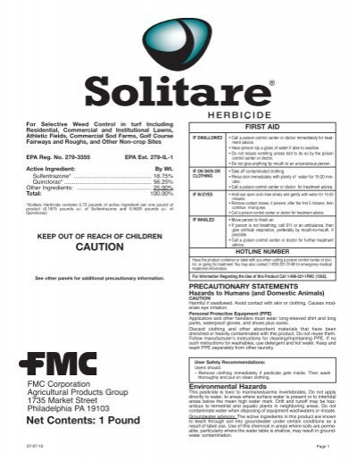 Solitare Herbicide 07-07-10 Commercial Label - FMC Professional ...