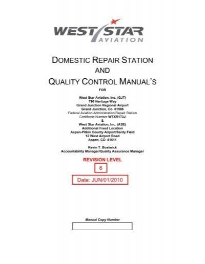 domestic repair station and quality control west star aviation rh yumpu com Quality Control Procedures Machine Shop Quality Control Manual