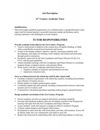 tutor responsibilities 21st century academic tutor job
