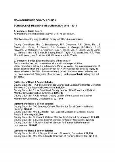 Schedule of Member Remuneration 2013-14 - Monmouthshire