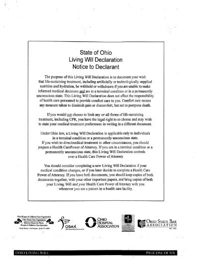 State of Oh io Living Will Declaration Notice to Declarant