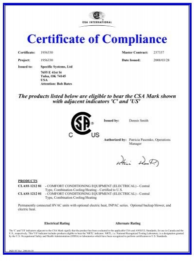 Csa certificate of compliance non hazardous specific for Certificate of compliance form template