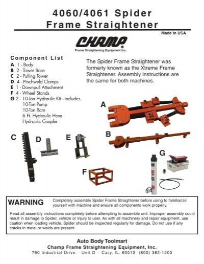 4060/4061 Spider Frame Straightener Assembly Instructions