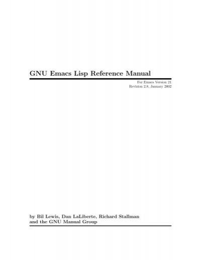 gnu emacs lisp reference manual local sector 7 web page rh yumpu com emacs lisp reference manual gnu emacs lisp reference manual pdf