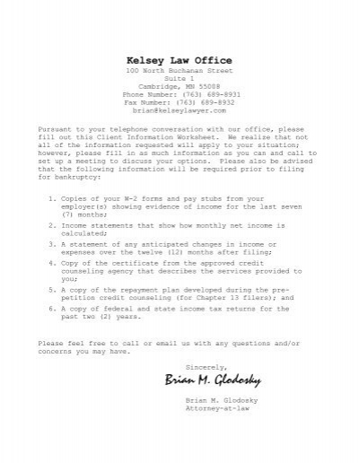 Client Questionnaire For Non Business Debtor ...   Kelsey Law Office
