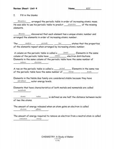 Periodic Table Trends Worksheet Answers Chemistry A Study Of ...