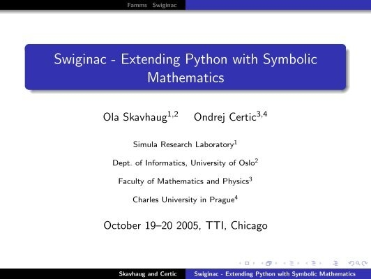 Swiginac Extending Python With Symbolic Fenics Project
