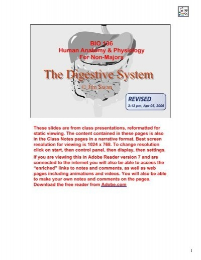 Digestive System and Nutrition PDF - Classvideos.net