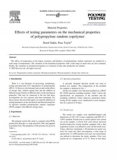 Polypropylene Random Copolymer Properties
