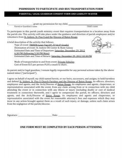 Permission for Participation/Medical Release form - Office of ...