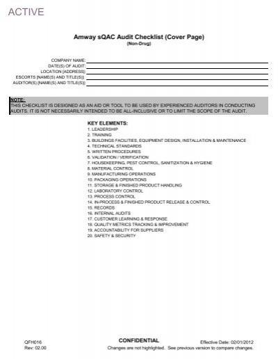 Amway sQAC Audit Checklist