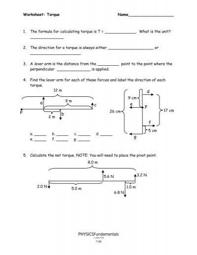 torque worksheet physics the best and most comprehensive worksheets. Black Bedroom Furniture Sets. Home Design Ideas
