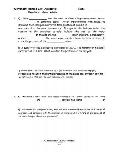 dalton 39 s law avogadro 39 s law and molar volume worksheet. Black Bedroom Furniture Sets. Home Design Ideas