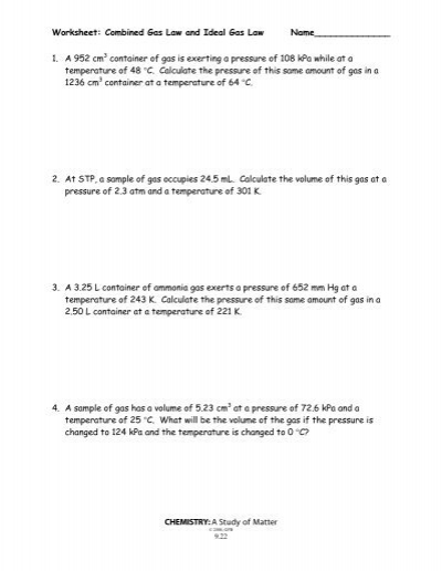 Worksheet: Combined Gas Law and Ideal Gas Law ...