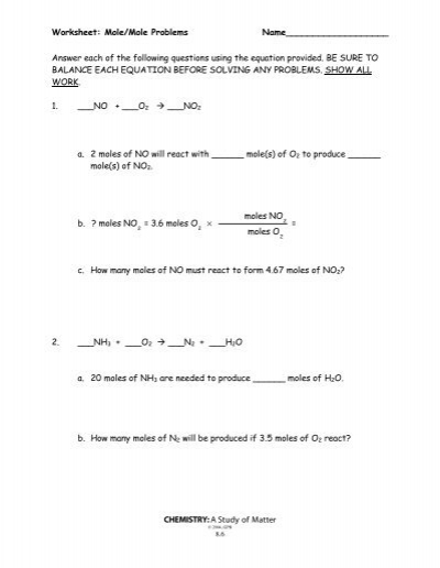 Mole/Mole Problems Worksheet