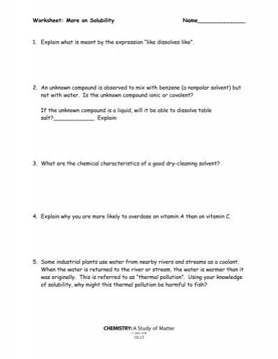 More on Solubility Worksheet