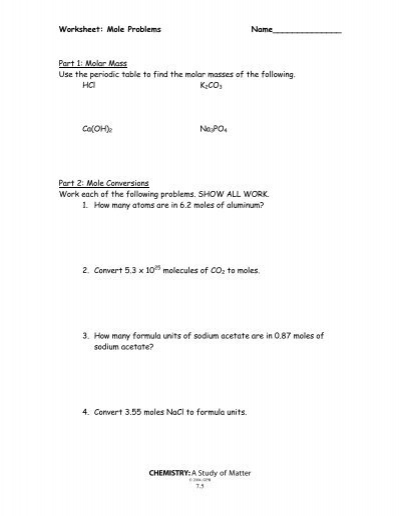 mole conversion problems worksheet with answers
