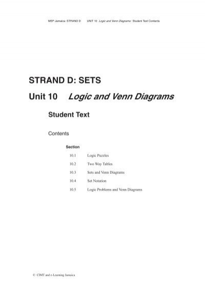 Strand D Sets Unit 10 Logic And Venn Diagrams