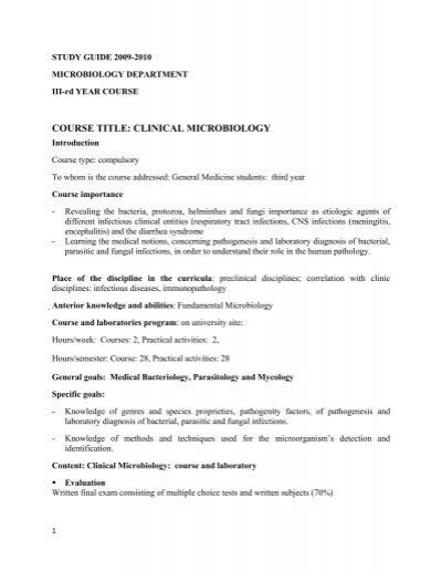 Title: MICROBIOLOGY - UMF - Iuliu Haţieganu