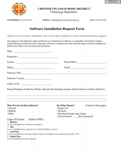 Software Installation Request Form   Chester Upland School District