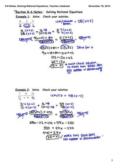 Hw Worksheet 8 6 Solving Rational Equations Algebra 2  solving rational equations worksheet