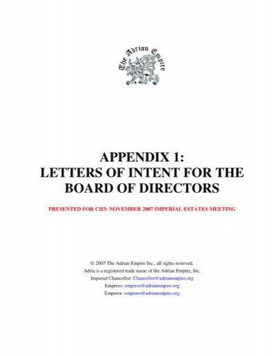 Appendix 1 Letters Of Intent For The Board Of Directors