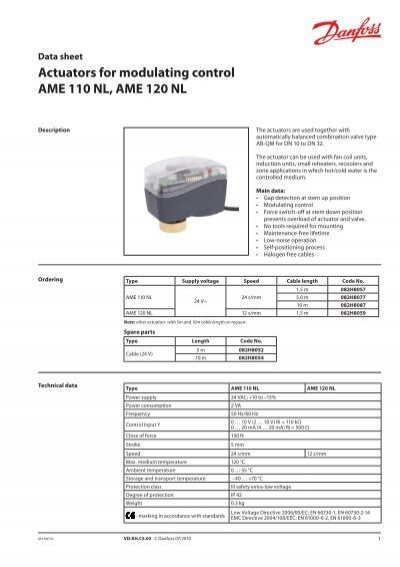 Actuators for modulating control AME 110 NL, AME ... on