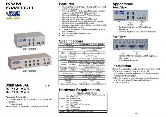 KVM SWITCH Features Specifications Hardware Requirements