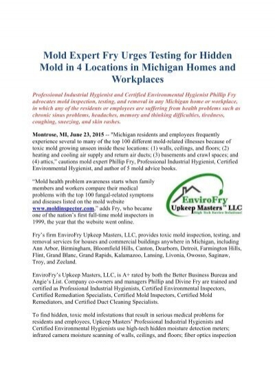 mold expert fry urges testing for hidden mold in 4 locations in ...