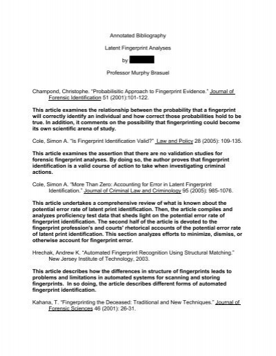 Annotated Bibliography Latent Fingerprint Colorado College