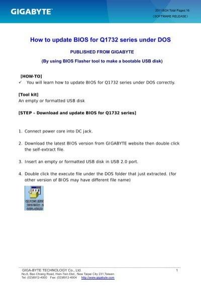 How to update BIOS for q1732_v1 - gigabyte