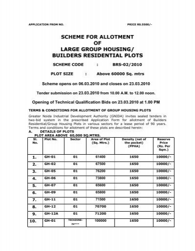 SCHEME FOR ALLOTMENT OF LARGE GROUP HOUSING/ BUILDERS