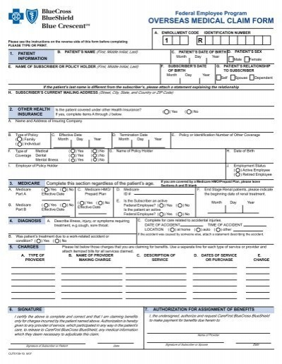 Federal Employee Program Overseas Medical Claim Form