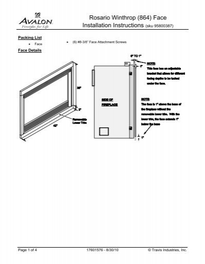 Rosario Winthrop 864 Face Installation Instructions Sku Avalon