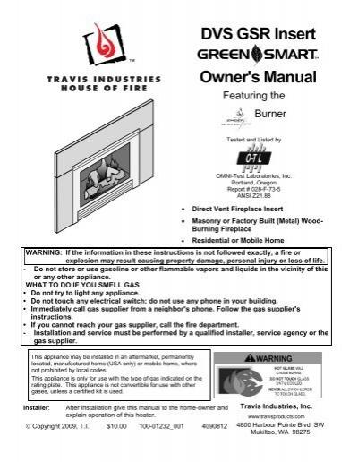 Dvs Gsr Insert Owner S Manual Travis Industries Dealer Services