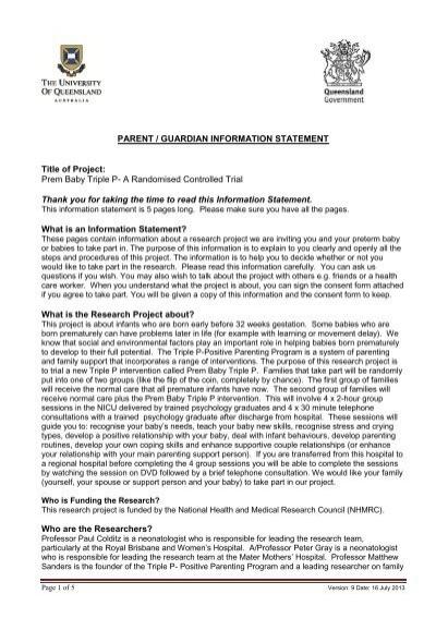 Parentguardian information statement and consent form prem baby triple p parent information statementconsent form altavistaventures Gallery